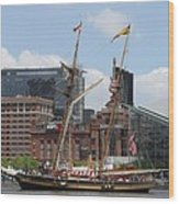 Schooner Arriving At Baltimore Inner Harbor Wood Print