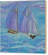 Schooner On The High Seas Wood Print