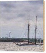 Schooner Sailing Past Fort Sumter Wood Print