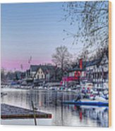 Schuylkill River And Boathouse Row Philadelphia Wood Print by Bill Cannon