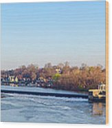 Schuylkill River At Boathouse Row And  The Fairmount Waterworks Wood Print by Bill Cannon