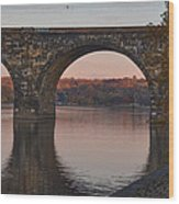 Schuylkill River Railroad Bridge In Autumn Wood Print