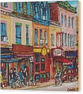 Schwartzs Deli And Warshaw Fruit Store Montreal Landmarks On St Lawrence Street  Wood Print