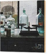 Science - Balance And Bottles In Chem Lab Wood Print