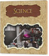 Science Button Wood Print by Mike Savad