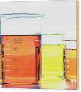 Scientific Beakers In Science Research Lab Wood Print