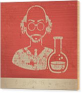 Scientist On Red Background,poster Wood Print