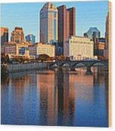 Scioto River And Columbus Ohio Skyline Wood Print