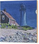 Scituate Light By Night Wood Print