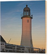 Scituate Lighthouse In Oct Wood Print