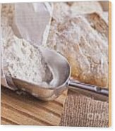 Scoop Of Flour And Fresh Bread Wood Print