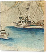 Scooter Fishing Boat Nautical Chart Map Art Wood Print