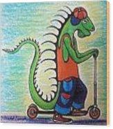 Scooter Iguana Wood Print