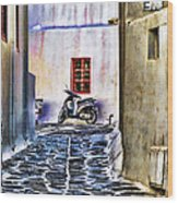 Scooter Mykonos Greece Wood Print