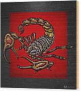 Scorpion On Red And Black Leather Wood Print