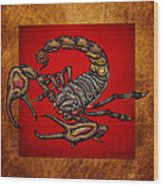 Scorpion On Red And Brown Leather Wood Print