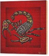 Scorpion On Red Wood Print