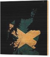 Scotland Grunge Map Outline With Flag Wood Print