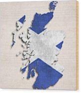 Scotland Map Art With Flag Design Wood Print