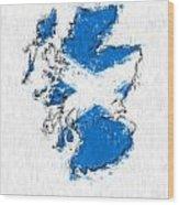 Scotland Painted Flag Map Wood Print
