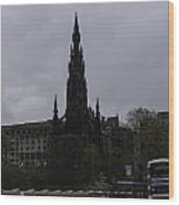 Scott Monument Next To Waverley Train Station And With Sightseeing Buses Wood Print