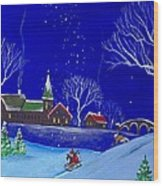 Scottie Sleigh Ride Wood Print