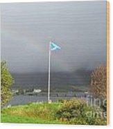 Scottish Flag With A Rainbow Wood Print