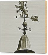 Scottish Lion Weathervane In Sepia Wood Print by Ben and Raisa Gertsberg