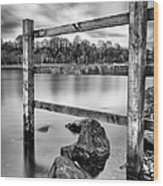 Scottish Loch With Fence Wood Print