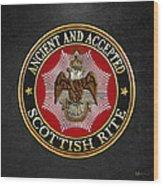 Scottish Rite Double-headed Eagle On Black Leather Wood Print