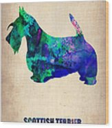 Scottish Terrier Poster Wood Print by Naxart Studio