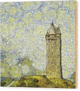 Starry Scrabo Tower Wood Print