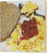 Scrambled Eggs And Salsa Wood Print