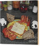 Scrambled Eggs Salami And Cheese For Breakfast. Travelling Baby Pandas Series. Wood Print