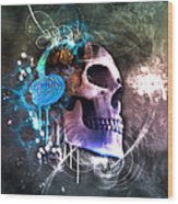 Scrap Skull Wood Print