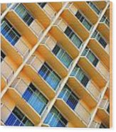 Scratchy Hotel Facade Wood Print
