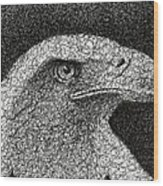 Scribble Eagle Wood Print
