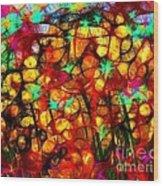 Scribble Flowers Wood Print
