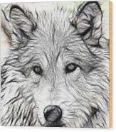 Scrimshaw Grey Wolf Wood Print