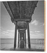 Scripps Pier La Jolla Long Exposure Bw Wood Print