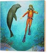 Scuba Diver One Wood Print