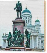 Sculpture Of Alexander II In Cathedral Of Helsinki-finland Wood Print
