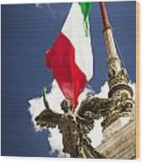 Sculpture Of Angel On The Background Of The Italian Flag Wood Print