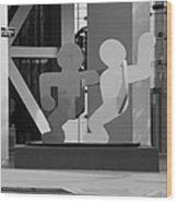 Sculpture On State Street In Black And White  Wood Print