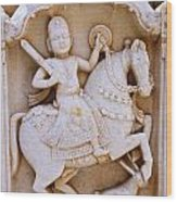 Sculpture On The Royal Cenotaphs Near Jaisalmer In India Wood Print