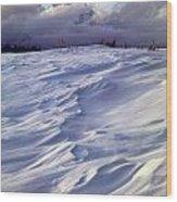 1m9347-sculptured Snow And Grand Teton Wood Print