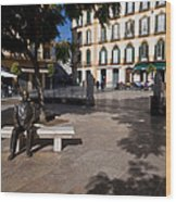 Scupture Of Picasso On The Plaza De La Wood Print