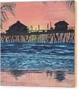 Sd Dock At Sunset Wood Print