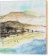 Sea And Mountains Wood Print