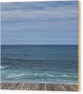 Sea And Wooden Platform Wood Print
